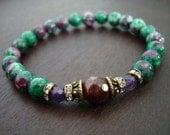 Women's Hope & Strength Mala Bracelet - Garnet, Ruby Zoisite, Amethyst Mala Bracelet - Yoga, Buddhist, Meditation, Jewelry