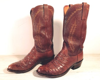 Vintage Cowboy Boots, Lucchese Sorrel Brown Genuine Ostrich Skin and All Leather, Men's size 8.5 D / Women 10
