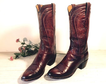 Vintage Cowboy Boots, Lucchese Oxblood Brown All Leather, Southwestern Style, Women's size 9 A, 8.5