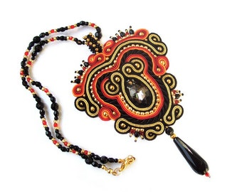 SALE ! HaLF PRiCE ! Soutache statement OOAK necklace pendant - elegant, colorful and unusual Handmade Soutache Jewelry - VENICE
