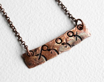 Stamped Necklace Bar Necklace Beaded Jewelry Short Boho Bohemian Necklace Rustic Copper Layering