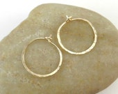 Small Gold Hoops, 14K Gold Filled Hammered Hoop Earrings, 20 Gauge Hoops, Hand Formed Hoops, Handmade Earrings, Handcrafted Jewelry
