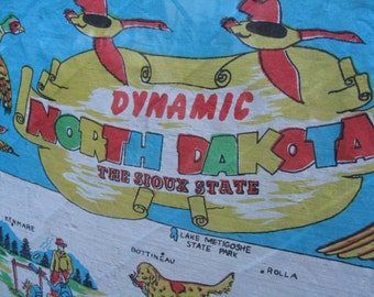 Dynamic North Dakota Scarf On Sale is Silk Mid Century Souvenir Sold As Is For Fabric Wear One Small Hole Still Good VTG Featuring Outdoors