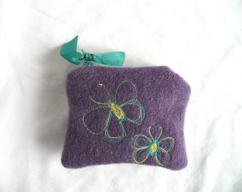 Embroidered butterfly purse - recycled wool pouch - hand dyed wool purse - embroidered coin purse - embroidered mini purse