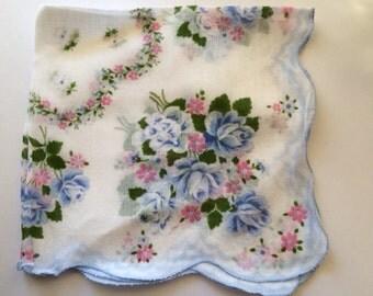 Vintage Hankie Handkerchief Blue and Pink Floral Design