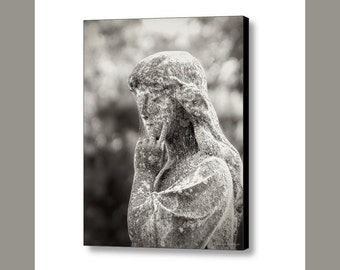 Cemetery Angel Statue Black and White, Charleston South Carolina, Photography on Gallery Wrap Canvas Art