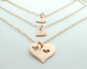 Mother daughter Necklace Rose Gold heart necklace Infinity Necklace Mothers Daughter Jewelry Necklace Mothers day from daughter - SET of 3