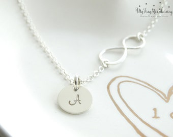 Silver Infinity Necklace Mother's Day Necklace  Delicate Initial Necklace Sister Necklace Best Friend gift Grandma Necklace