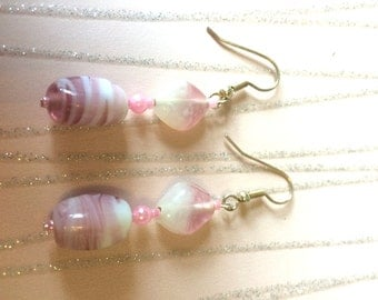 Pink an White Glass Dangle Earrings approx 2 inches Ladies Jewellery Gifts for her handmade earrings dropper dangle earrings