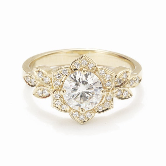 moissanite engagement ring delicate lily by sillyshinydiamonds. Black Bedroom Furniture Sets. Home Design Ideas
