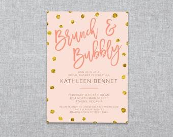 Bridal Shower Invitation - Brunch & Bubbly - Custom Printable PDF