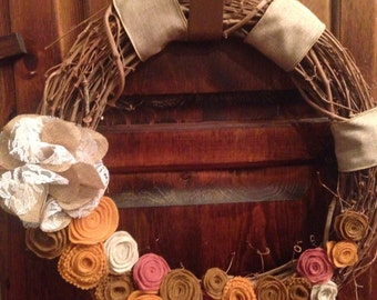 Fall Sale- Grapevine Wreath with Felt Flowers, Lace and Ribbon