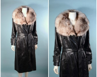 Vintage 60s Black Leather Midi Coat + Fluffy Fox Fur Trim, Mod Leather Trench Coat + Belt M