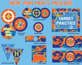 INSTANT DOWNLOAD - Nerf Birthday Party Package, Nerf Wars Birthday, Dart Gun Party Printables, Nerf War Printables, Dart Battle Birthday