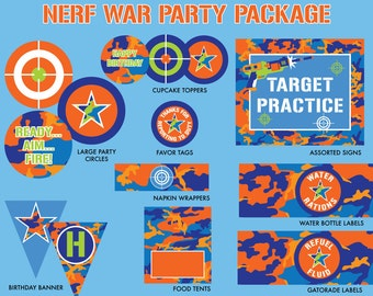 INSTANT DOWNLOAD - Dart Gun Birthday Party Package, War Birthday, Dart Gun Party Printables, Orange and Blue War Printables, Battle Birthday