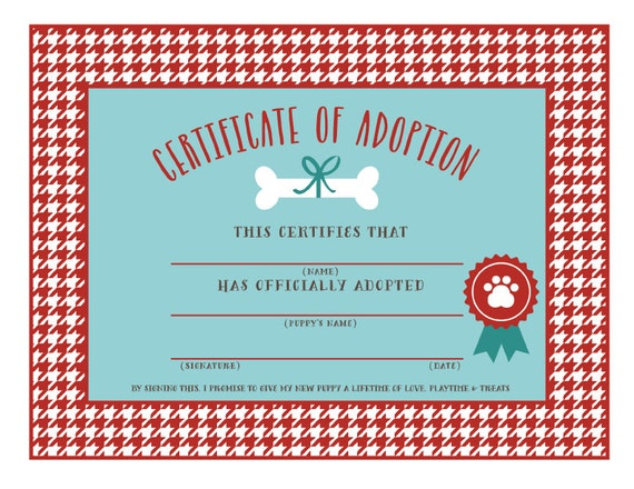 INSTANT DOWNLOAD Puppy Adoption Certificates Adopt A Puppy