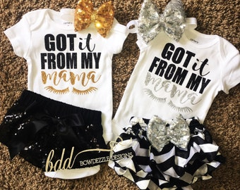Got it from my Mama Shirt Bow and Bloomers/Shorts/Adult Shirt