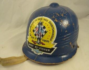 Vintage 1950's Soap Box Derby Cardboard Helmet Chevrolet Body by Fisher