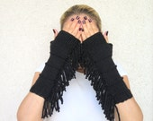 Knitted Arm Warmers, Knit Fingerless gloves, bohemian, tribal style, fringed, Long knit gloves, Boho knit glove mittens,