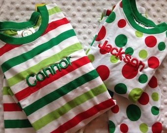 Christmas Personalized Christmas Red Green Baby Children Toddlers Christmas Pajamas Boys Girls Stripe Pajamas Monogrammed Striped PJs