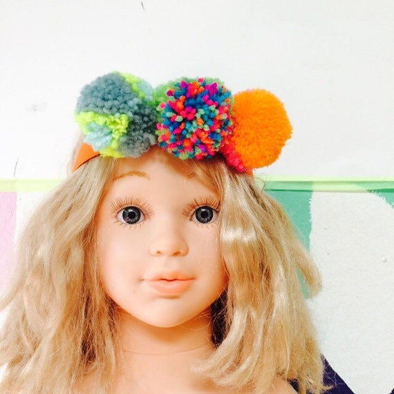TWIRL Headband 2Y Plus Childrens Kids Ladies Pom Pom Headband Elastic Unisex