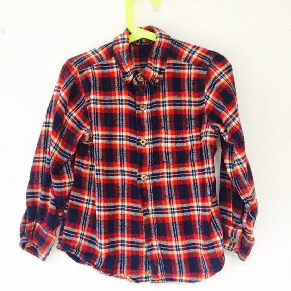 Vintage Plaid Shirt Kids 5-6 Years Cotton Flannel Lumberjack Unisex