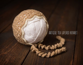 Newborn Baby Bonnet Knit antique cream ready to ship Photography Prop RTS