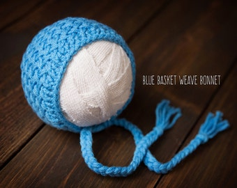 Newborn knit Baby Bonnet blue ready to ship Photography Prop RTS
