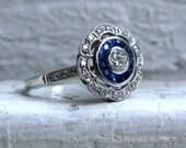 Beautiful Vintage Platinum Pave Diamond and Sapphire Halo Ring - 1.18ct.