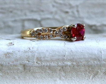 RESERVED - Vintage 14K Yellow Gold Ruby and Diamond Engagement Ring by Shane Co.  - 0.78ct.