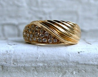 Wonderful Wide Vintage 18K Yellow Gold Pave Diamond Wedding Band - 0.46ct.