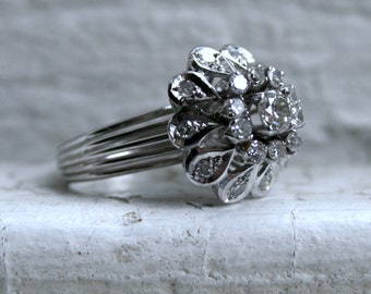 Vintage Platinum Diamond Cluster Engagement Ring - 0.65ct.