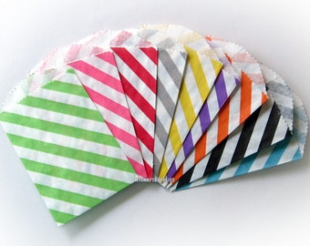 "100 Colorful Diagonal Stripe 2.75 x 4""  Bags - Your choice of colors- Paper Favor Bags"
