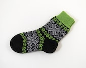 Knitted Wool Socks, Folk Pattern Socks - Black, Green and Gray, Size Large