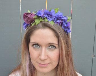 Blue and Purple Rose Headband