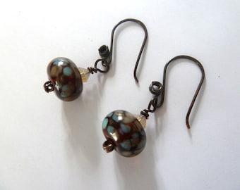 handmade lampwork glass earrings, brown and copper jewellery UK
