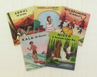 Set of 5 vintage children's books, 1930's children's books about different cultures, children's book set