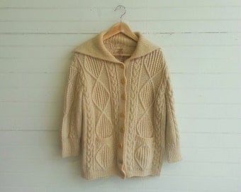Vintage Irish Wool cardigan fishermans sweater medium large
