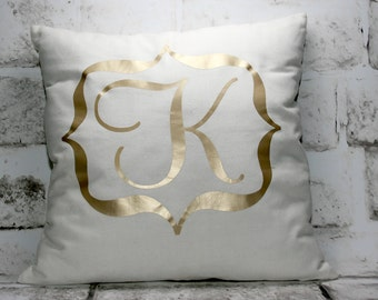 Custom Monogram Pillow Cover / Personalized 16x16 Pillow Cover