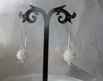Sterling Silver Wire Wrapped Round Ball Earrings Wedding Christmas Women Gift for Her