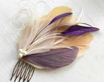 LANE in Champagne, Grape Purple, Lilac, and Ivory Peacock Feather Fascinator with Pearl, Feather Hair Comb, Bridal Hair Piece