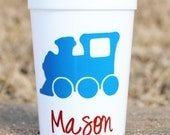 5 Train Themed birthday party favor cups