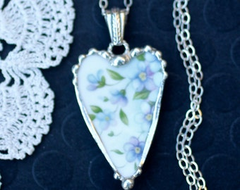 Necklace, Broken China Jewelry, Broken China Necklace, Heart Pendant, Blue and Lavender Floral China, Sterling Silver Chain