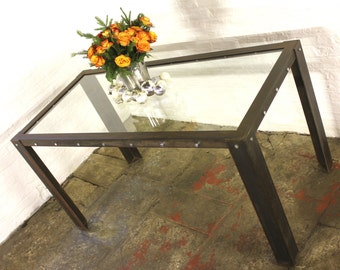 Bloom Industrial Angle Iron Bolted Steel Framed 6 Seater Toughened Glass Topped Table - Bespoke Furniture by www.inspiritdeco.com