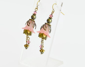 Olive pink bronze Swarovski crystal and pearl lucite vintage style flower earrings, pink earrings, bronze earrings, flower earrings