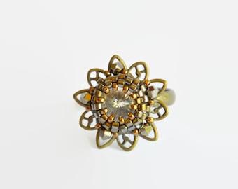 Gold bronze flower Swarovski delicate adjustable ring, gold Swarovski ring, Swarovski ring, bronze ring, adjustable ring, flower ring