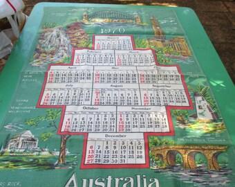 Tea Towel Vintage Calendar from 1970 Australian Cities -  Australian Tea Towel.
