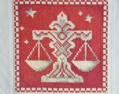 Finished / Completed Cross Stitch - Lanarte - Red Signs of the Zodiac: Libra (34978) crossstitch counted cross stitch