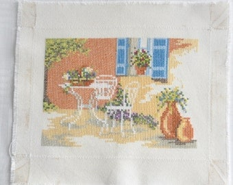 Finished / Completed Cross Stitch - Lanarte - White terrace ( 34818 ) crossstitch counted cross stitch