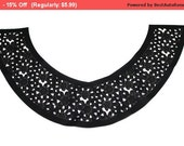 SALE Black Laser Cut Faux Leather Necklace Collar with Floral Pattern for Garments,Crafts,Sewing,DIY
